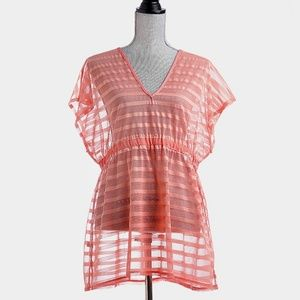 Coral Striped See Through Elastic tunic Dress